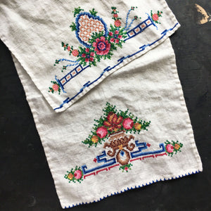 Vintage Cross Stitch Embroidery Kitchen Towels - Set of Two - Colorful Florals
