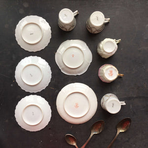 Antique Porcelain Demitasse Collection - 12 Pieces- French Limoges and Japanese Handpainted Floral Sets