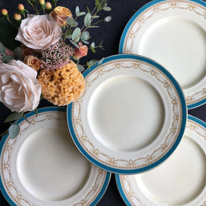 Vintage WH Grindley Dunrobin Turquoise Dinner Plates - Made in England circa 1936-1954