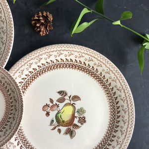 Vintage Johnson Brothers Fruit Sampler Dinner and Bread Plates - Set of Four Dishes - Staffordshire Old Granite