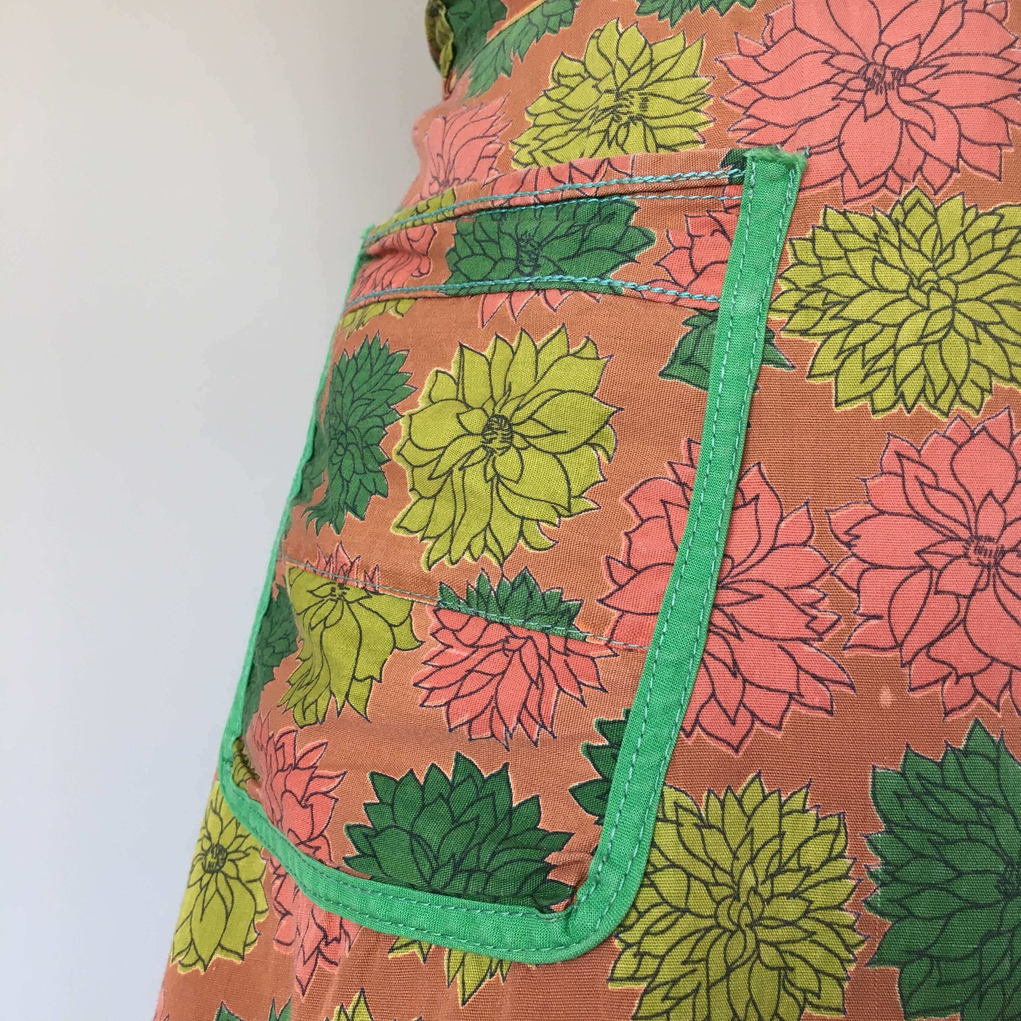 Vintage Brown and Green Floral Half Apron - Dahlia Flower Succulent Style Pattern