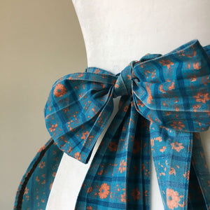 Vintage Cafe-Style Teal and Orange Apron with Stripes, Florals and a Side Pocket