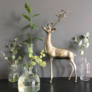 Vintage Nickel Plated Brass Deer Figurine with Etched Design