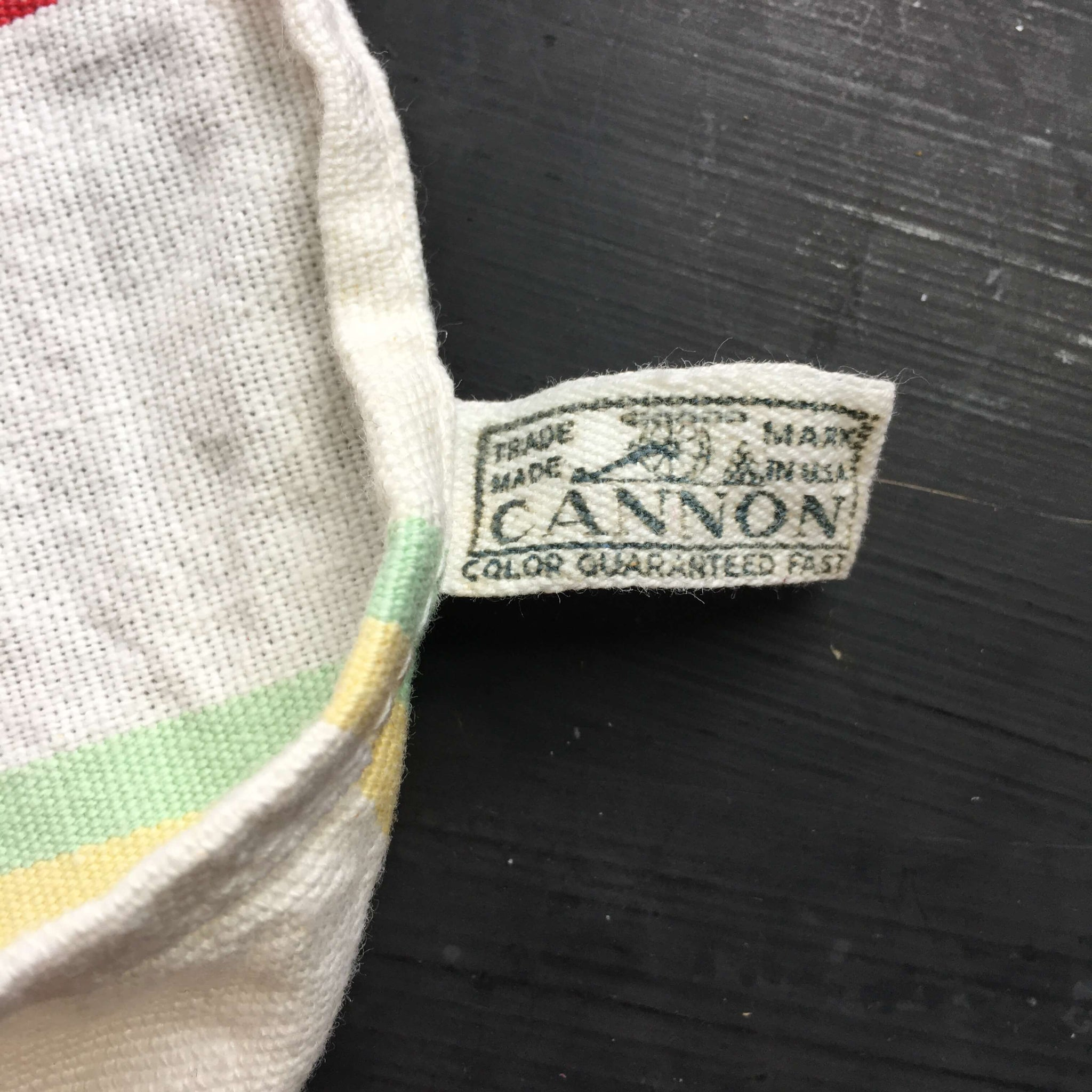 Vintage 1950's Striped Cotton Kitchen Towel by Cannon - Multicolor Stripes