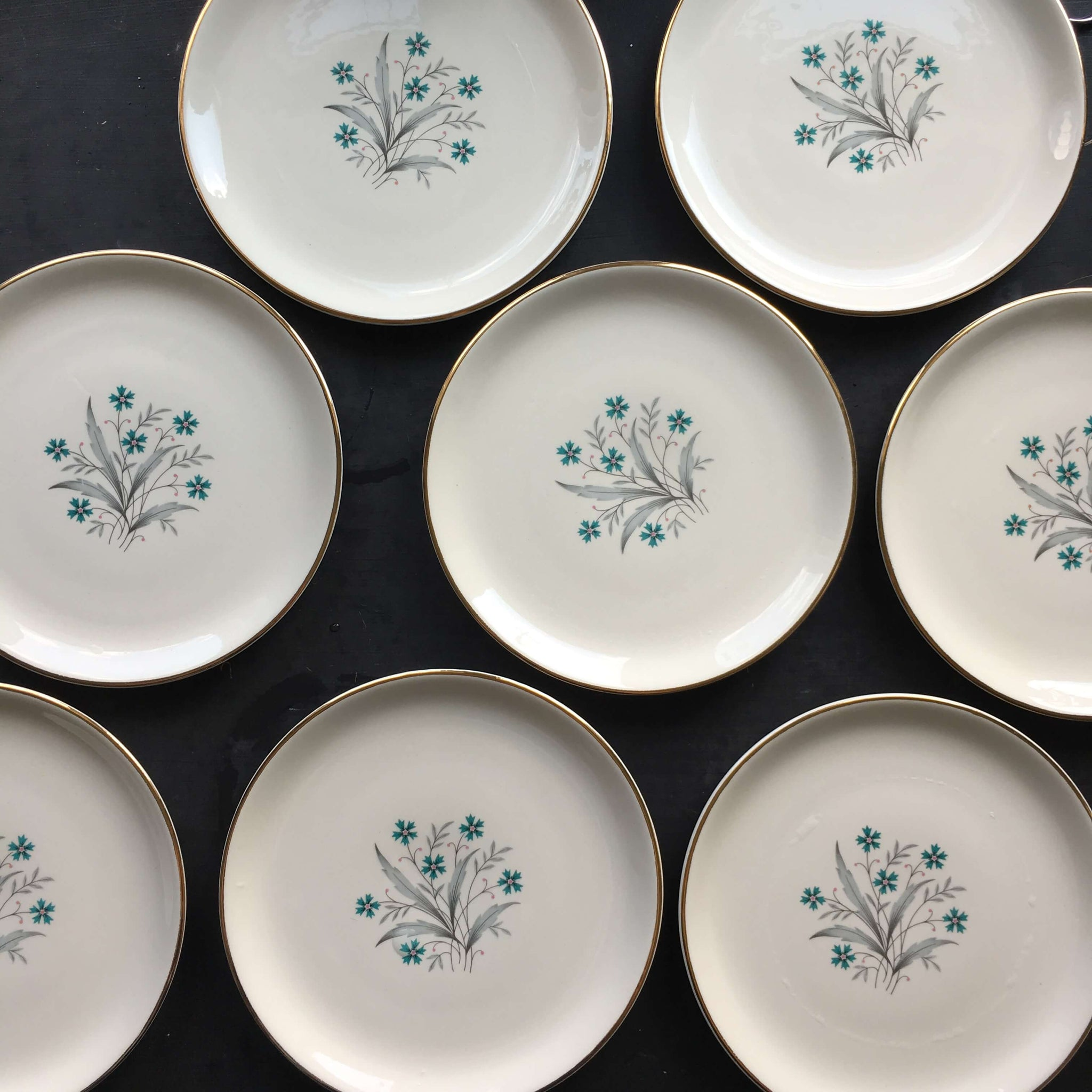 Vintage Teal Cornflower Salad Plates - Set of Eight - Grey Leaves
