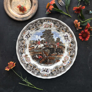 Vintage Herring's Hunt Dinner Plate - Full Cry Fox Hunt Scene Equestrian Decor
