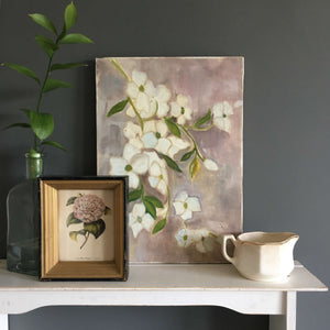 Vintage Floral Still Life Painting - 10x14 - Featuring Green and White Impatiens