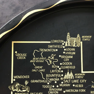 Vintage 1970's  Metal Serving Tray - State of Utah  Travel Souvenir - Collectible Maps