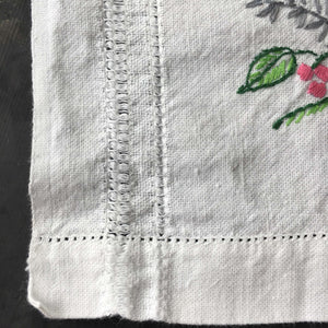 Vintage Embroidered Table Runner - Birds and Flowers - 14x37