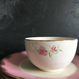 Antique Knowles Taylor Knowles Small Bowl - Pink Carnation Flowers - Floral Semi Vitreous VBI Open Sugar Bowl