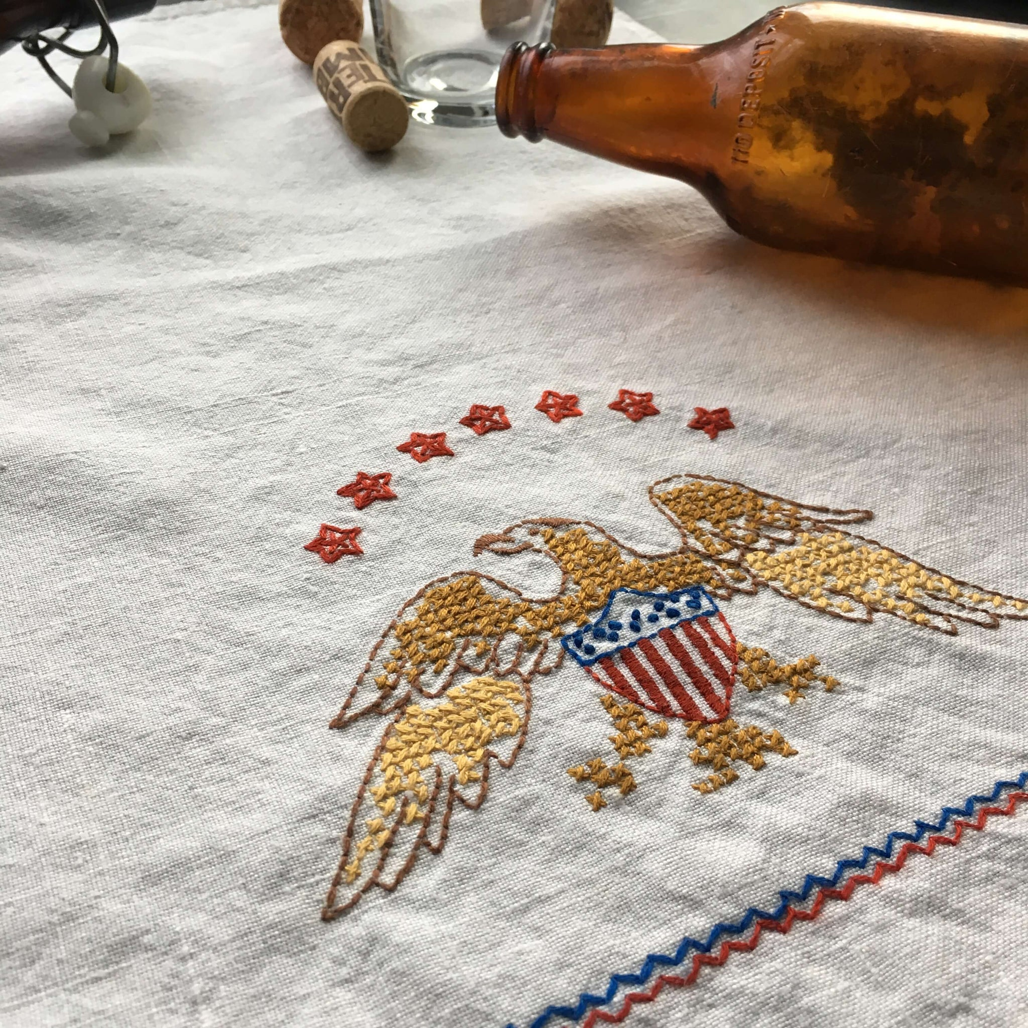 Vintage 1950's Eagle Embroidered Bar Towel  - Red, Gold and Blue Americana - Bar Cart Style