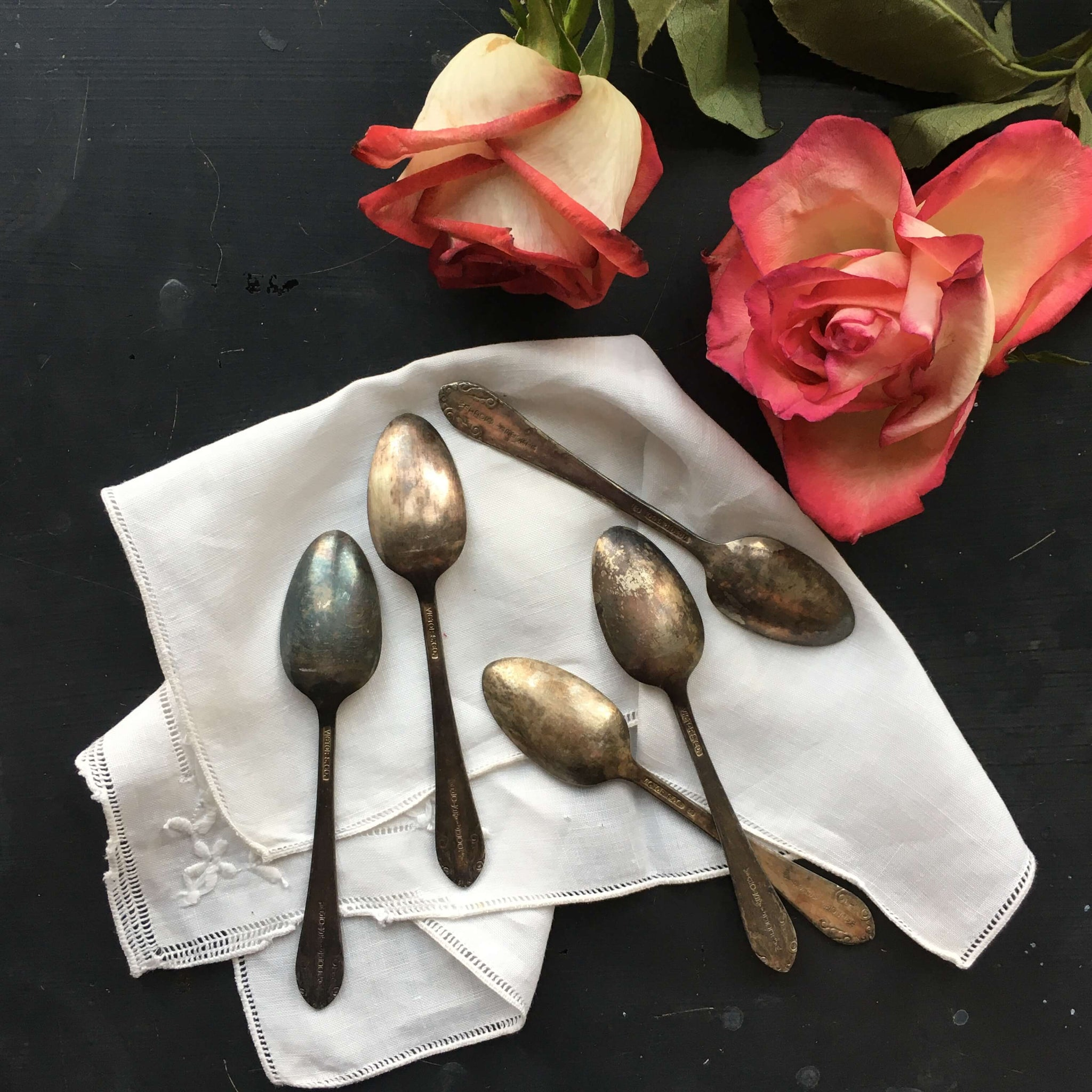 Antique Hotel Flatware - Waldorf Astoria Demitasse Spoons - Set of 5 - Victor Silver Company - Sterling Silver Flatware circa 1910