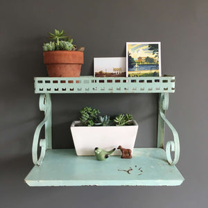 Vintage Two-Tiered Metal Shelf circa 1950s Midcentury Mint Green