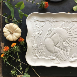 Vintage White Turkey Platter Blank Mold - 11x14 Rare Unglazed Pottery Art circa 1983