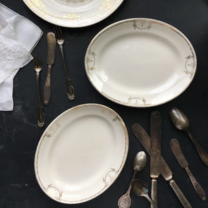 Vintage 1940s Commodore by Salem Relish Dishes - 23 Karat Gold - Set of Two