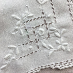 Antique Embroidered Kitchen Linens - Cloths with Hemstitching and Floral Designs - Set of Two