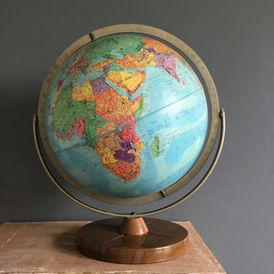 Vintage 1961 Replogle Stereo Relief Globe - Free Spinning Gyro-matic Brass Mounting with  Metal Stand circa 1961