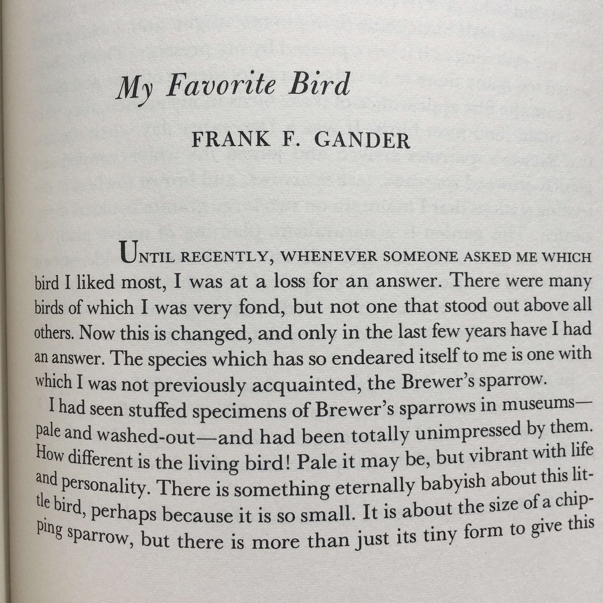 My Favorite Bird Frank F. Cander