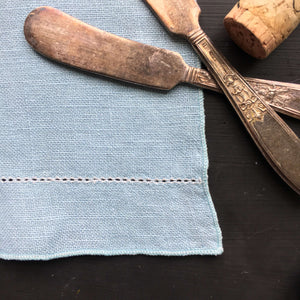 1950s blue linen cloth with hemstitching
