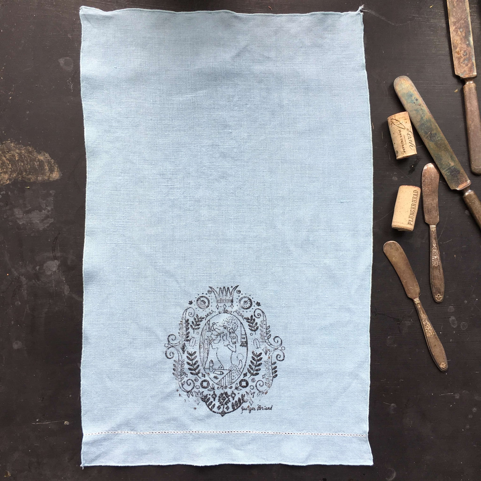 vintage 1950s blue linen cloth designed by georges briard