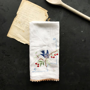 Vintage Blue Bird Tea Towel - Embroidered Apple Tree and Bird Design - Dish Towel Kitchen Linens