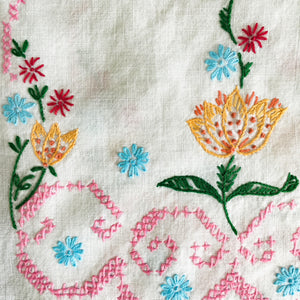 Vintage Embroidered Linen Table Runner - 35x11 - Colorful Handstitched Kitchen Cloths and Linens
