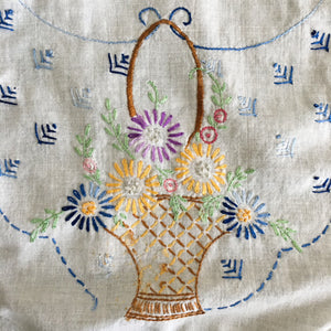 Vintage Embroidered Floral Table Scarf - Colorful Handstitched Kitchen Cloth 37x11 - Needs Repair