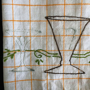 Vintage Embroidered Bar Cart Tea Towel  - Happy Hour Glassware - Vintage Barware Accessories