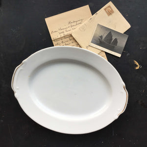 Vintage S.G.K. Platter - All White with Gold Handles - Made in Japan
