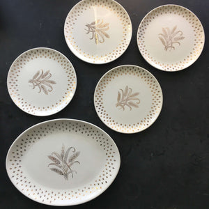 Vintage Wheat and Fleur De Lis Serving Set - Gold and Ivory Platter and Four Small Plates  - USA Pottery