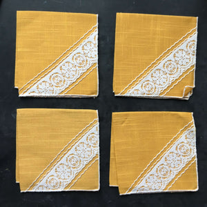 Vintage Yellow Linen Cocktail Napkins with Lace Corner Detail - Set of 4 - Marigold Mustard Squash Colors