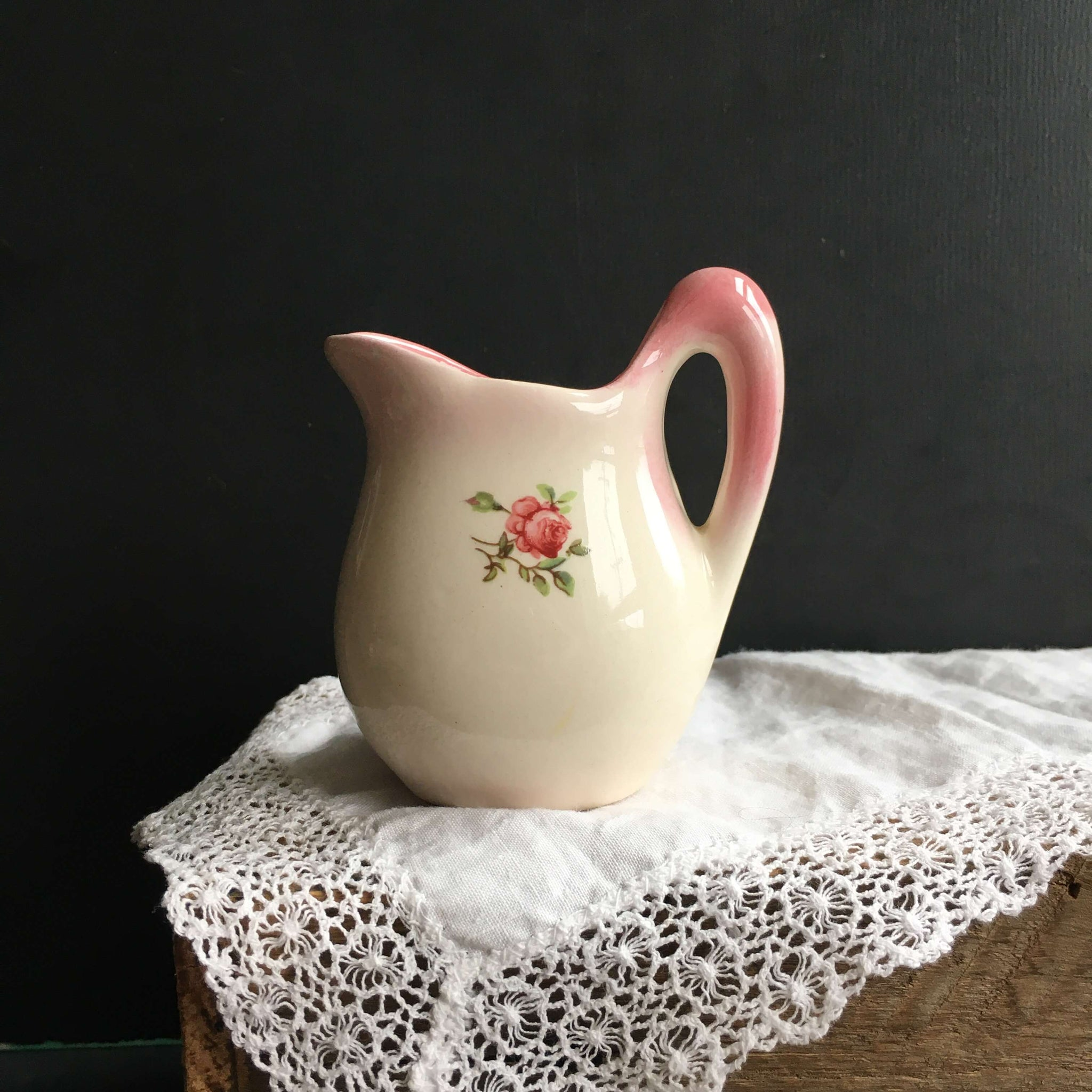{RESERVED} Vintage Miniature Creamer for Individual Use - Pink Rose Floral {RESERVED for Monica}