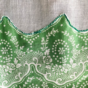 Vintage Green and White Half Apron - Sheer Cotton Handmade