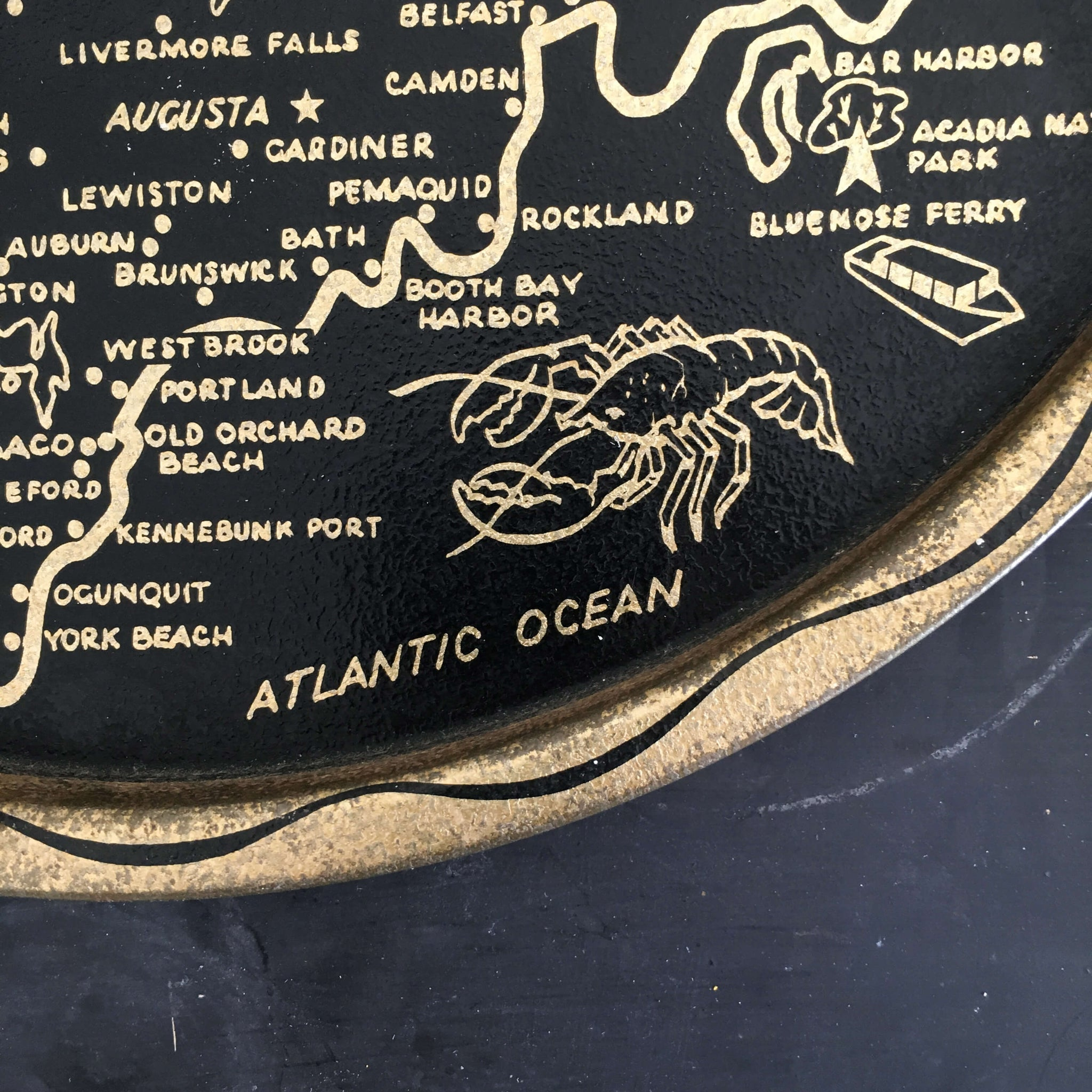 Vintage 1960's  Tin Tray - State of Maine  Travel Souvenir - Black and Gold Travel Collectibles