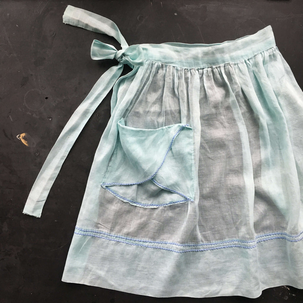 Vintage Mint Green Half Apron with Blue Ric Rac Details and Pintucks - Handmade