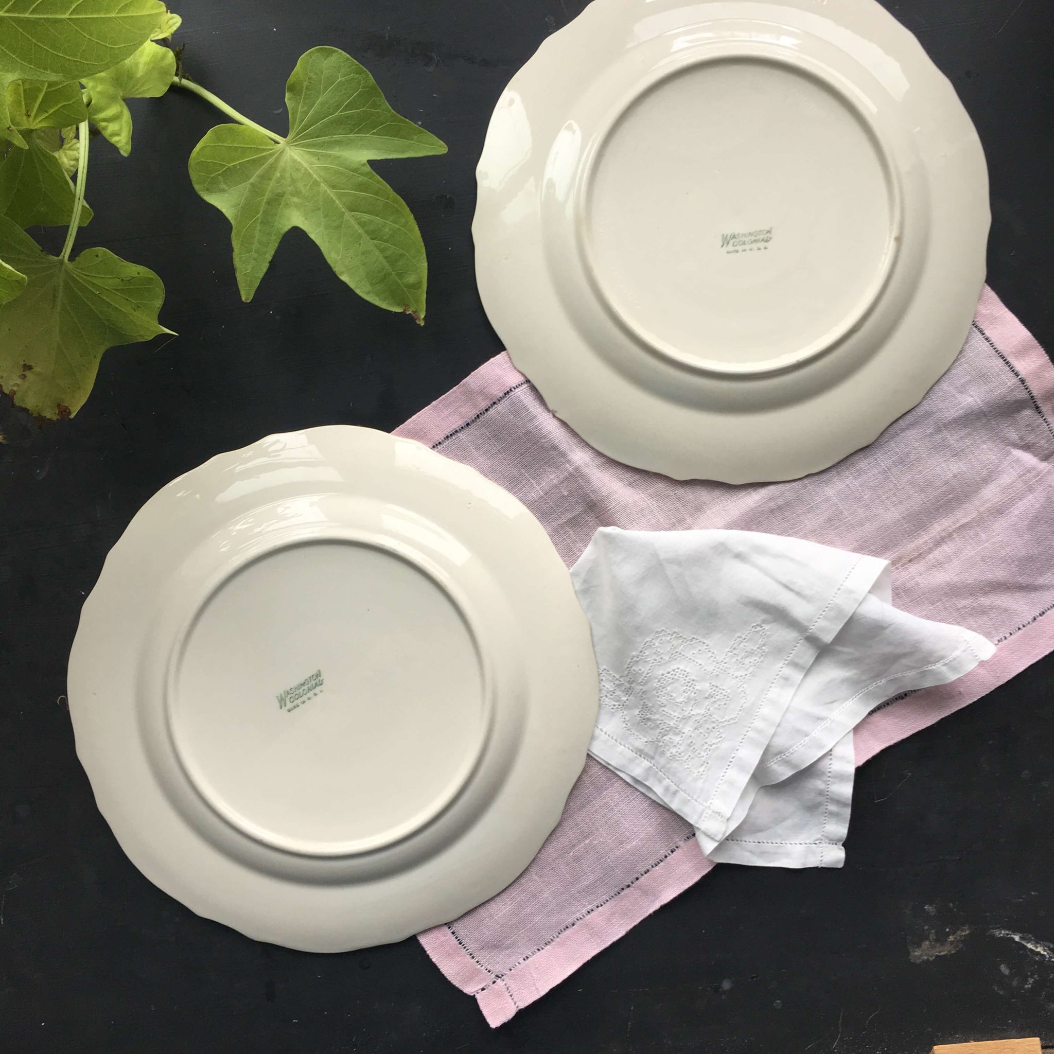 Vintage 1940s June Rose Dinner Plates - Washington Colonial by Vogue - Set of Two - Pink Rose