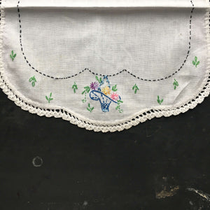 Vintage Embroidered Kitchen Linen - Blue Basket of Flowers Design with Green Leaves