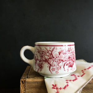 Vintage Shenango Red Transferware Cup - 1930s Restaurantware - Red Floral