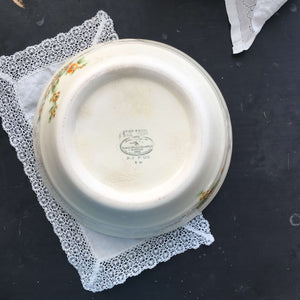 Vintage 1930s Good Housekeeping Institute Floral Oven Proof Kitchen Bowl - Golden Acacia Pattern by Paden City Pottery circa 1936
