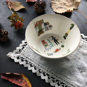 Vintage Pennsylvania Dutch Amish Farm Couple Bowl circa 1950's