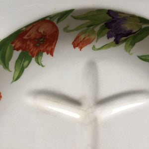 Rare Vintage 1930's Carving Platter with Juice Wells - Harker Hotoven Tulip Pattern circa 1935-1950