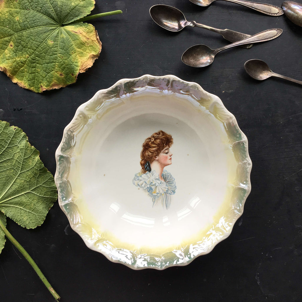 Antique Portrait Bowl with Gibson Girl Profile and Green Lustreware Rim