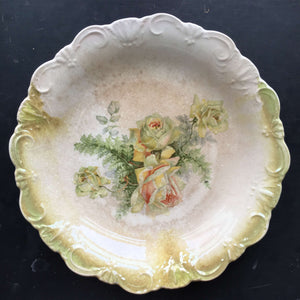 Antique Dresden Pottery Plate - Green Roses with Lustreware Rim