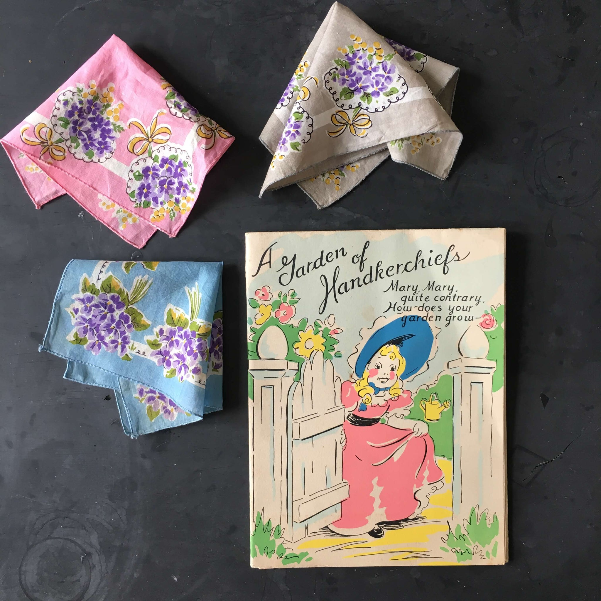 1940's Burmel Gift Card and Handkerchief Collection - Three Floral Handkerchiefs - Rare Vintage Hankie Set