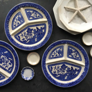 Antique Blue Willow Divided Plates - Grill Plates - Made in England by Romarco Ware No. 712950