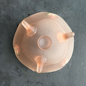 1930's Pink Frosted Depression Glass Footed Bowl - Carol Pink by Lancaster - Satin Frosted