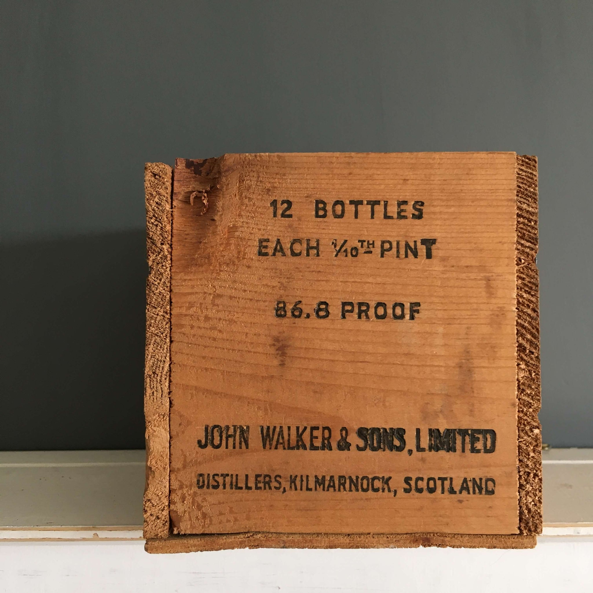 Vintage Johnnie Walker Wood Crate - Miniature Pint Size Red Label Whisky Box