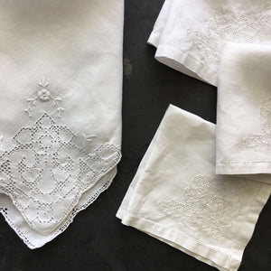 Antique Hemstitched Linen Napkins - Collection of 4 - Floral Embroidery Needlework