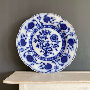 Antique Flow Blue Luncheon Plate - Johnson Brothers England - Holland Pattern circa 1900-1915
