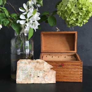 Vintage 1950s Wood Recipe Box - Weis Manufacturing Company - Monroe Wisconsin